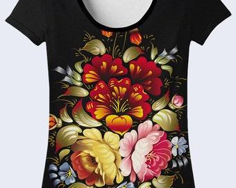 Womens T Shirt, Traditional Ornament Shirt, Flower Pattern T Shirt, Womens Shirt, T Shirt for Women, Black T-Shirt with Flowers