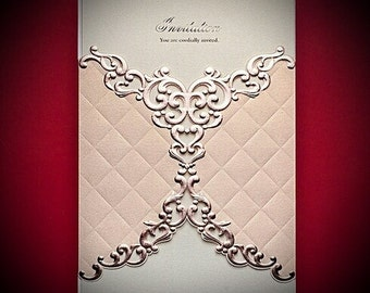 Handmade Luxury Elegant Gold Vintage Wedding Invitations