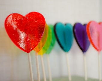 Large Heart lollipops, Heart Lollipops, Lollipops, lollipop, birthday lollipop, Wedding Lollipops, Party Favors, Birthday-Set of Eight