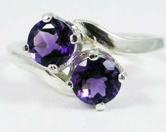 Amethyst Two Stone Ring, 925 Sterling Silver, February Birthstone Ring, Purple Amethyst Ring, Amethyst Two Stone Ring
