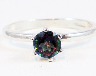 Mystic Topaz Six Prong Solitaire Ring Sterling Silver, Rainbow Topaz Solitaire Ring, 925 Ring, Topaz Solitaire