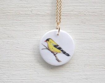 Bird necklace, yellow bird necklace, goldfinch necklace, yellow finch necklace, bird pendant, gold finch necklace, bird charm necklace