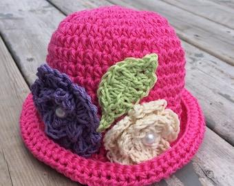 Crochet baby sun hat, cotton summer hat, cotton baby hat, baby flower hat, baby sunhat, baby girl hat, baby girl photo prop, baby cloche hat