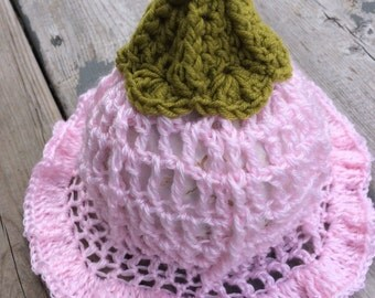 Crocheted Tulip baby hat