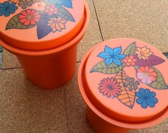Vintage Orange Rubbermaid Canisters from the 1970's