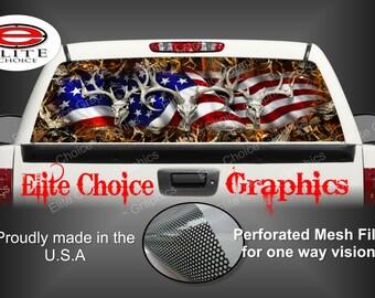 American Buck Deer Obliteration Skull Blaze Rear Window Graphic Tint Decal Sticker Truck SUV Van Car