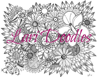 Adult Colouring Page, Instant Download, Dowloadable PDF, Flowers, Butterfly, Zentangle, Zendoodle