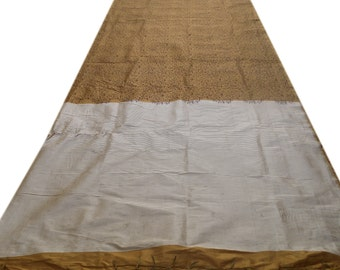 Free Shipping Golden Antique Vintage Floral Printed Indian Sari Pure Cotton Silk Saree Fabric Craft Clothing Summer Wear Sarong 5Yd MD329
