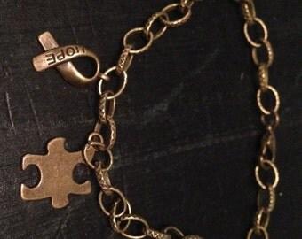 Antique bronze autism charm bracelet