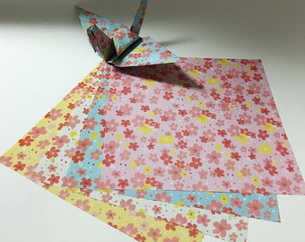 LIMITED EDITION//Origami Paper Sheets - Double-sided Cherry Blossom Pattern - 60 sheets