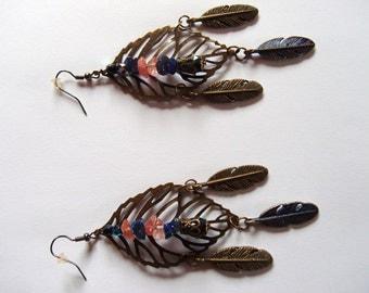 Boho Cherry Quartz and Lapis Lazuli Feather Earrings/OOAK/Handmade/Hippy Earrings/ Stevie Nicks Style EarringsTribal Earrings