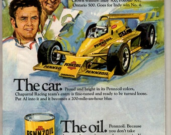 1979 Pennzoil motor oil vintage magazine ad it has been tested and proven by men like Al Unser in cars like Chaparral racie car at Indy