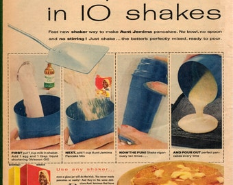 """Vintage 1957 magazine ad for Aunt Jemima pancake mix """" 4 steps and 10 shakes to great pancakes everytime"""""""