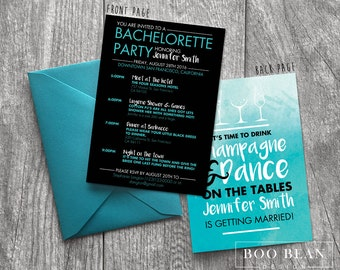 Teal Bachelorette Invitation  | Printable Invitation | Bachelorette Invitation | Bachelorette Party Drink Champagne & Dance on the table