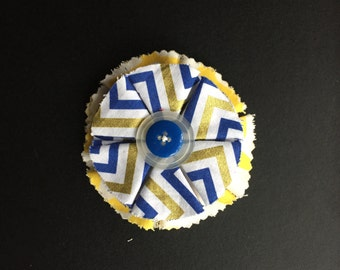 Blue & Yellow Flower on French Barrette