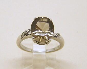 sterling silver smoky quartz diamond ring