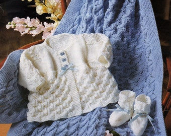 Baby Coat, Bootees And Shawl Knitting Pattern. PDF Instant Download.