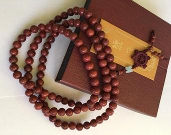 Rosewood 10MM Buddhist Prayer Bead Mala Necklace/Bracelet 108