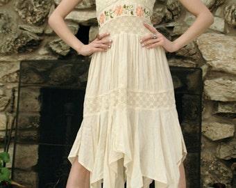 Cream floral embroidered halter dress