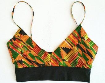 African Print Crop Top, Kente Crop Top