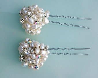Bridal pearl cluster hair pins, Wedding pearl cluster hair pins, Bridal hair accessories, Bridal pearl hair pins, Wedding hair accessories
