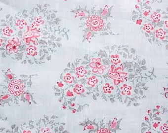 Dear Stella / Floral Fabric / Designer / Small Flowers in a Bunch / Vintage Grey Pink / Cotton / Dressmaking Quilting Sewing / Half Metre