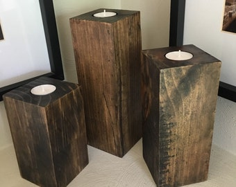 Rustic candle holders for tea lights. Gorgeous solid wood custom picked for its beauty!