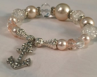 Vintage Hope is the anchor Stretchy blush  tones bracelet