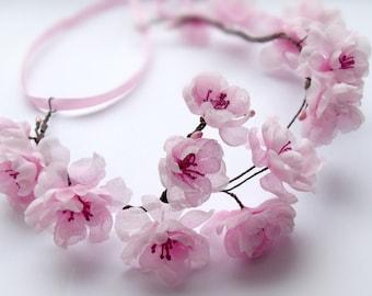 Headband with sakura flowers, pink flowers, wreath Sakura,, headband for the bride wedding accessories, cherry blossom, headband for women