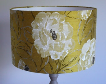White Poppy on olive silk Lampshade Harlequin Rosella