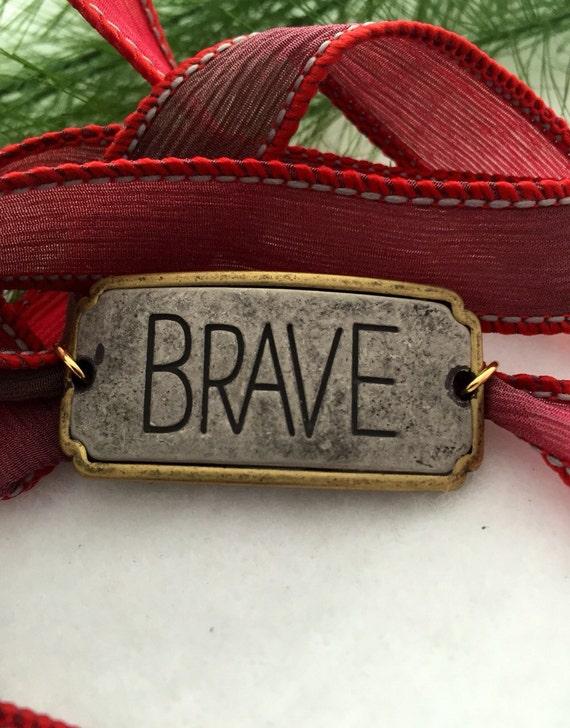 Inspirational Silk Wrap Bracelet Brave - Brave Silk Wrap Bracelet - Crossfit Inspired - Silk Ribbon Wrap Bracelet - Inspirational Jewelry