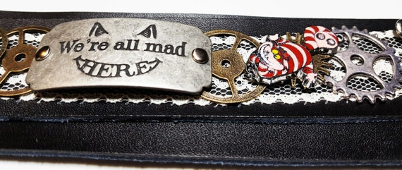 Alice in Wonderland Leather Lace Wrist Cuff, Steampunk Gears Gift, Cheshire Cat Charm Bracelet, We're All Mad Here Charms, Steampunk Jewelry