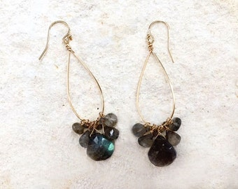 Labradorite Teardrop Hoop Earrings, 14k gold-fill