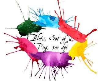 Watercolor blots clip art. Digital Watercolor Clip Art. Scrapbooking.  Set of 12, Png - file, 300 dpi. Discount coupons