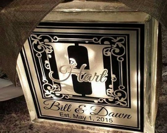 Personalized 8x8 lighted glass block