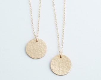 Rose Gold Hammered Disk Necklace, Rose Gold Gold or Silver, Gold Fill, Hammared Pendant, Custom Pendant, DN13