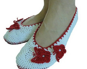Slippers with butterfly,gift for her,ballet shoes, cotton slippers