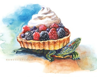 Fruit Tart Turtle // pigment print, archival, 8x10 // Print of watercolor painting of a turtle with a fruit tart for a shell