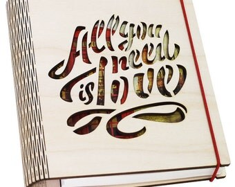 Personalized 'All you need is love' sketchbook A5 refillable pages on coil staples