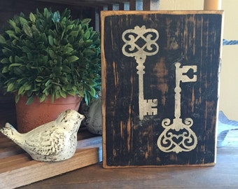 Rustic Antique looking key Sign,  key  Sign, old fashioned keys, Rustic Home Decor, Home Decor, Farmhouse Home decor, Country Home Decor