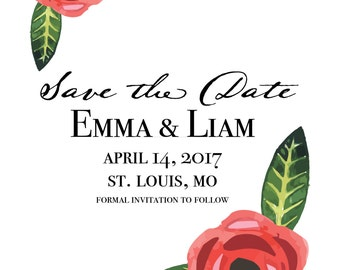 Watercolor flowers customized save the date