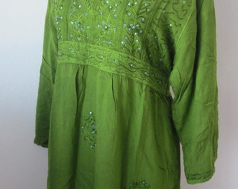ETHNIC ~  Lovely Green Detailed Top!