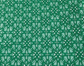 Grass green lace fabric