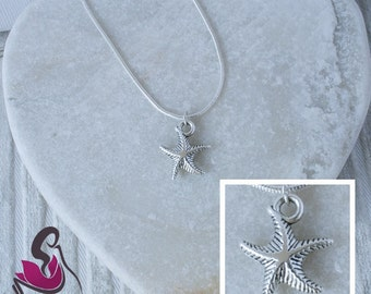 Star Fish Charm necklace in sterling silver