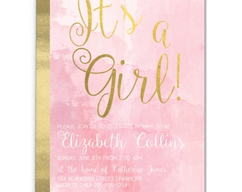 Printable! It's a Girl! Baby Shower Invitation 5x7