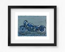 Motorbike Linoprint - Handmade Motorcycle Linocut - Biker Style - Gifts for him - Original Artwork - Classic Lino Cut Reduction - Rocker