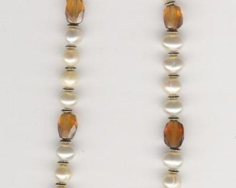 N02012-Necklace-Hessonite Garnet (N), Fresh Water Pearl, Gold Fill beads and clasp, 22 inches