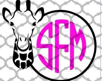 Giraffe Monogram Circle, SVG, Cut FIle