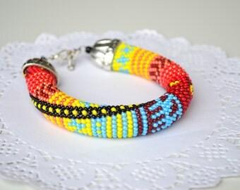Colorful multicolor bead crochet patchwork print bracelet, bright summer seed beaded bracelet jewelry, embroidery bracelet jewelry