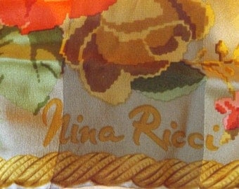 SALE:  Vintage Nina Ricci Scarf / 100% Silk / Made in Italy / 34 x 34